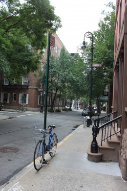 One of the quiet streets in Greenwich Village on a Sunday morning.