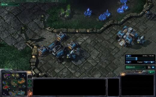 Terran walling their base.