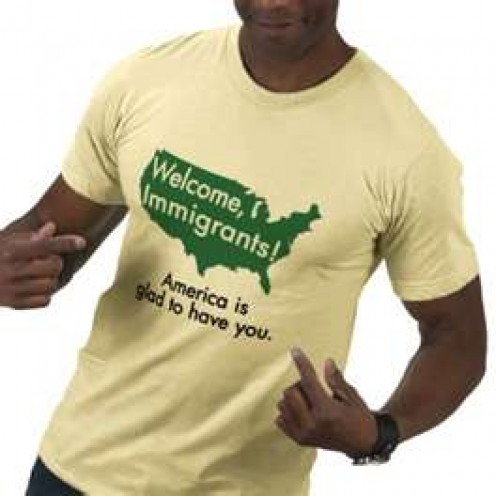 A pro-immigration shirt made by American Apparel.