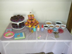 A cupcake decorating station is a great birthday party idea.