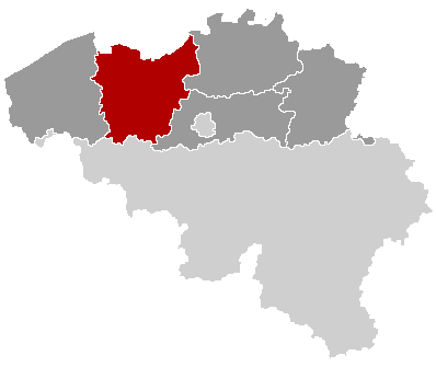 Map location of East Flanders province, Belgium
