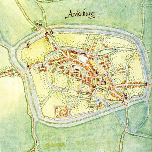 Map of Aardenburg, by Jacob van Deventer (c. 1505-1575)