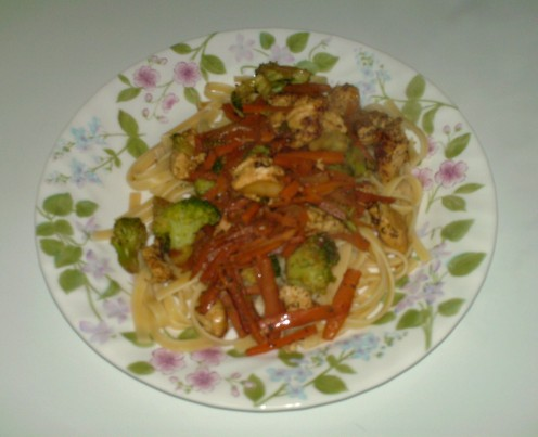 Chicken vegetable fettuccini.