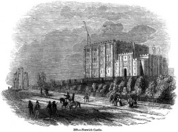 A 19th-century engraving of Norwich Castle