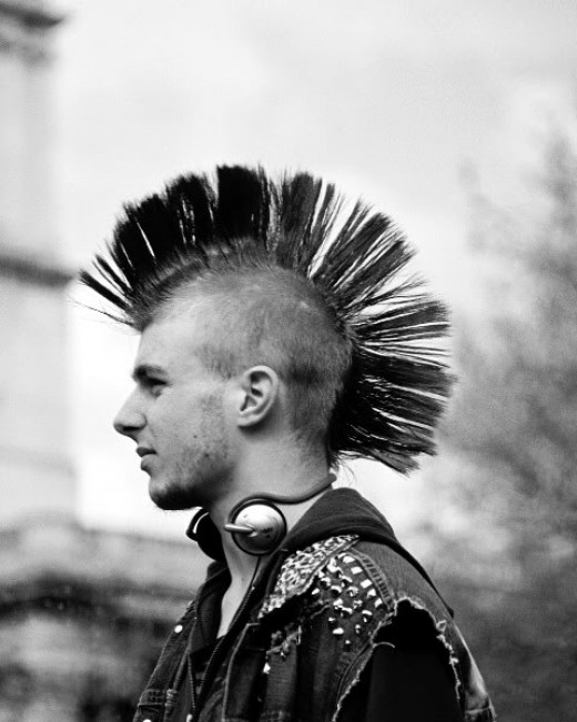 Fanned mohawk hairstyle.