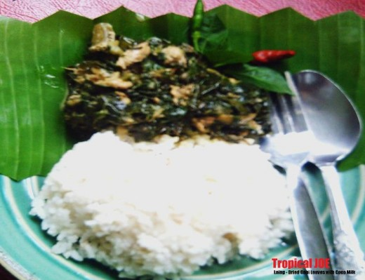 LAING - dried taro leaves in coconut milk