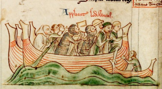 Depiction of Louis crossing the English Channel to invade England