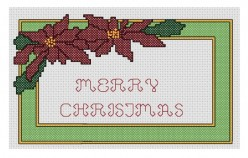 free cross stitch pattern Poinsettia Merry Christmas