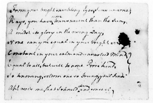 George Washington, Diary, March 11 - April 13, 1748, Acrostic Poem, Source: George Washington Papers, Public Domain via Library of Congress, 1741-1799: Series 1b.