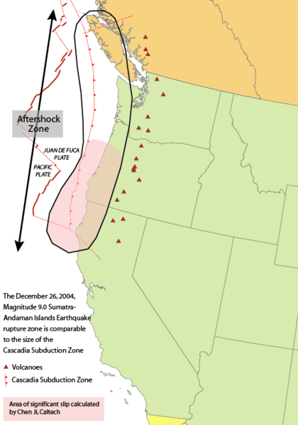 A comparison of the Sumatra, Indonesia earthquake of 2004, which ripped open 400 kilometers (250 miles) of sea floor, to the Cascadia Subduction Zone which is expected to rupture the same way. (Click for full-sized.)