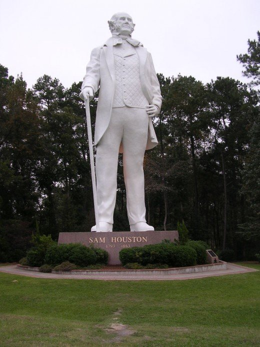 The Sam Houston Memorial in Huntsville, Texas stands over 65 feet tall. It is the largest statue of an American. As a point of reference - if the statue of Abraham Lincoln at the Lincoln Memorial were to stand it would be 28 feet tall.