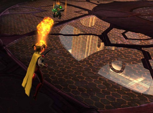 DCUO New Superheroine Testing Her Powers ie Fireball Against the Brainiac Ship Guardian Whilst Flying