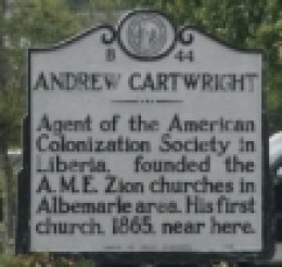 ndrew Cartwright A.M.E. Zion Minsionary / American Colonization Society