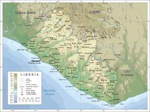 photo credit: wikipedia.com topographic map of Liberia