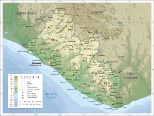 photo credit: wikipedia.com topographic map of Liberia