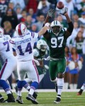 Calvin Pace and the NYJ kept the pressure on Bills QB Ryan Fitzpatrick all day long. Credits: Rick Stewart/Getty Images