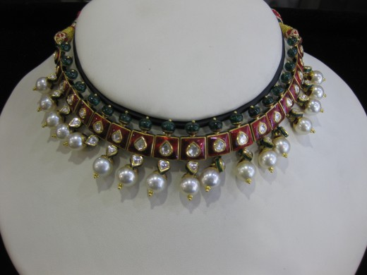 Kundan Meena Jadau Do - Posta Necklace studded with flat diamonds. Emerald beads and pearl hanging