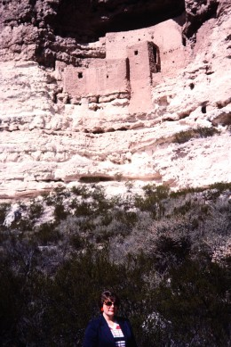 Photo of me taken by my hubby standing below the Montezuma Castle National Monument.