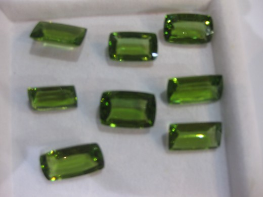 Peridot octagons from Burmese origin, beautiful colored gemstones