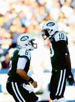 Santonio Holmes and Mark Sanchez victory moment!