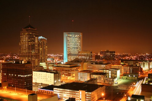Columbus, Ohio skyline at night.
