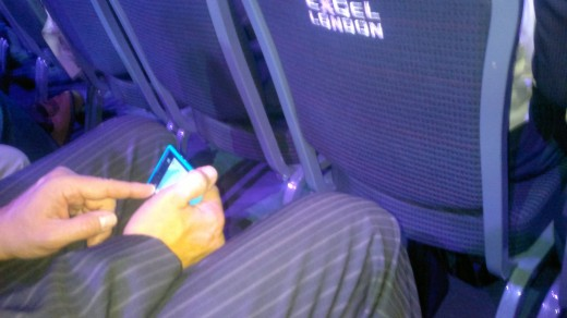 Alf playing with the Lumia-800 before announcement  waiting for the keynote to start