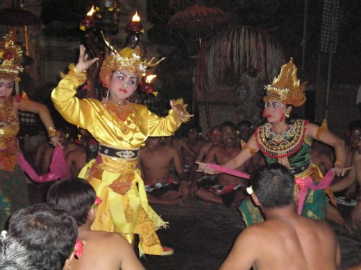 Kecak Fire & Trance Dance, one of the multiple styles of Balinese Dances. This image captures the moment in which the unusual golden deer makes its appearance. Ubud, Bali, Indonesia.