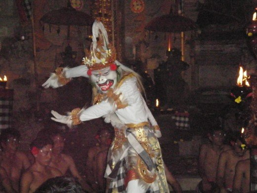 White monkey Hanoman, Kecak Fire & Trance performance, Ubud, Bali, Indonesia.