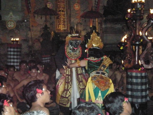 Ogre King Rahwana with his prisoner Dewi Sita (King Rama's wife).  Kecak Fire & Trance performance, Ubud, Bali, Indonesia.