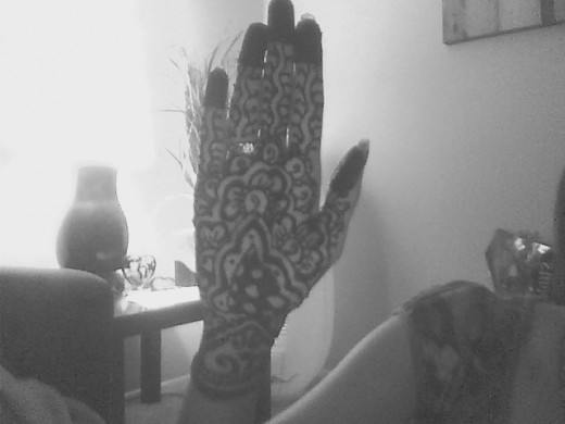 This is the mehendi in my palm.