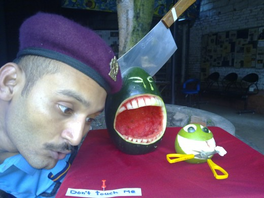 Tortured to death man watermelon and lemon