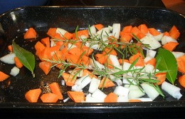 The prepared vegetables and herbs.