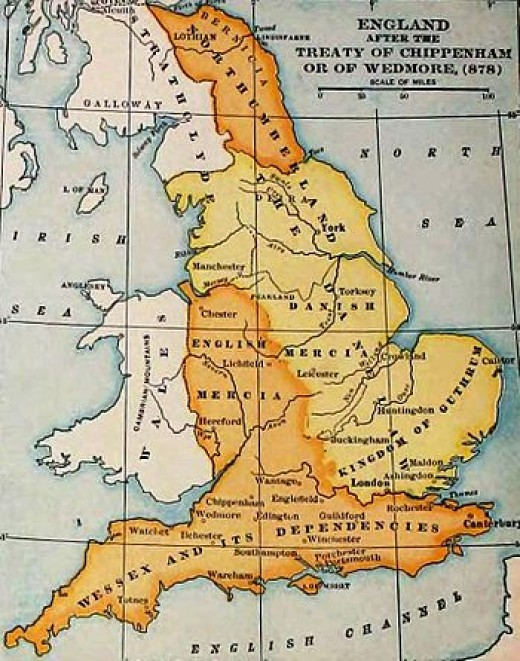 The kingdoms divided after AD878 by treaty between Aelfred and Guthrum. Bernicia (Northumbria north of the Tees) was cut off from western Mercia and Wessex