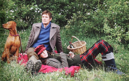 Peter Krause: jacket by Brunello Cucinelli, sweater by Banana Republic Heritage Collection; pants by Beretta; boots by Le Chameau.  Veroniek Gielkins: jacket by Ralph Lauren ; turtleneck by Etro; pants by L.L. Bean Signature; boots by Cole Haan.