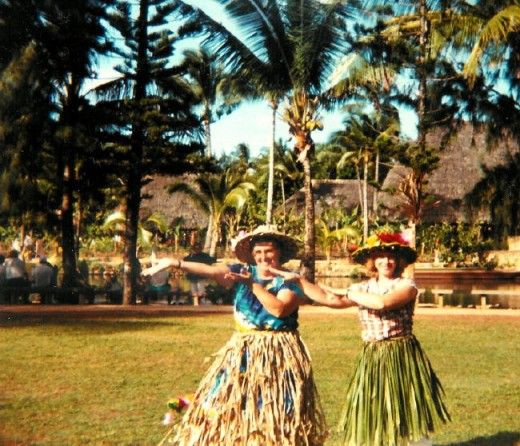 "My Mother In Law, June and I learning how to do the ""hula""... I was blessed with a wonderful Mother In Law for sure. Not sure what year this is, either 1983 or 1984."