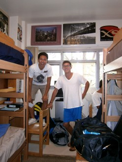 Aaron with his roommate, all settled in, I hope?