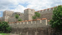 Reconstructed fortifications of the imperial palace - much of the original fabric would have been rendered in 1454 when the Turks first attacked
