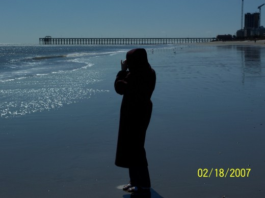 VISITOR AT MYRTLE BEACH, ALL BUNDLED UP, IN FEBURARY