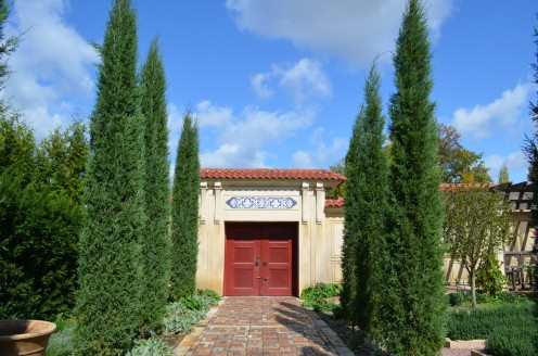 Photo 11- One of my favorite views of the garden.  Italian Cypress trees, growing in a row down a neat path to another entrance/exit.  The double wooden doors are really neat.