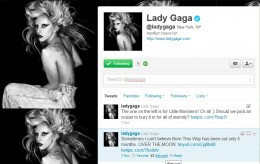 Lady Gaga's Page on Twitter