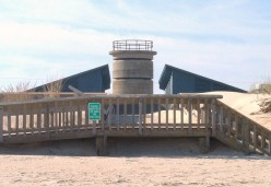 View of the pavillion from the beach. Note the World War II tower that's behind it.