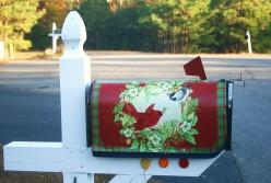 Seasonal mailbox covers add a bit of color to an otherwise drab winter scene.
