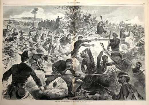 Bayonet Charge. This is a very real battle scene. in Harpers weekly