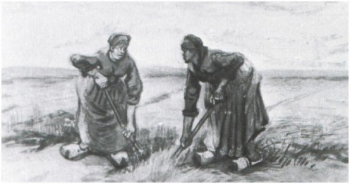 "GOSSIPING WAS REAL IN MASTER ARTIST, VINCENT VAN GOGH'S DAY. THIS MASTERPIECE IS ""TWO WOMEN TALKING AND DIGGING"""