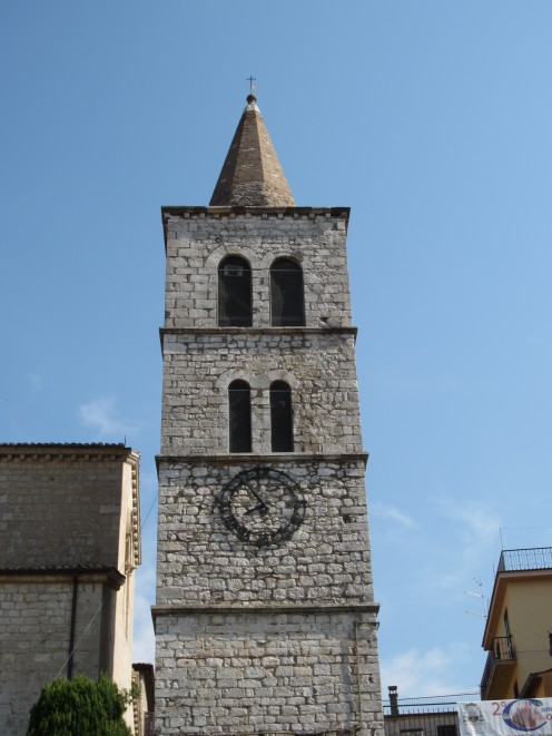 The bell tower of the church of St. Mary of the Assumption in Amaseno, Italy