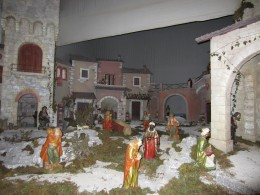 The Nativity scene (the central part ). Exhibited in the Church of St. Mary of Annunciation - Amaseno, Italy