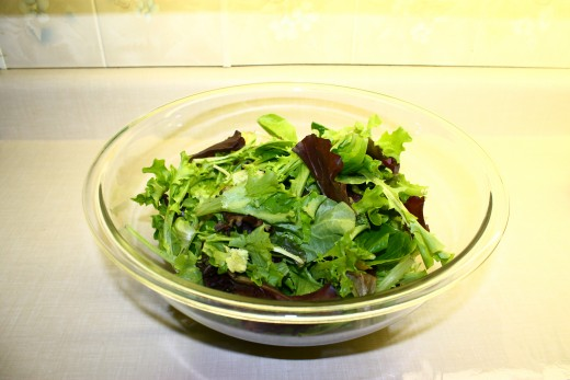 Spring Mix in a serving bowl