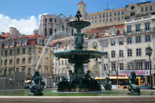 Rossio Square in Lisbon's Baixa district