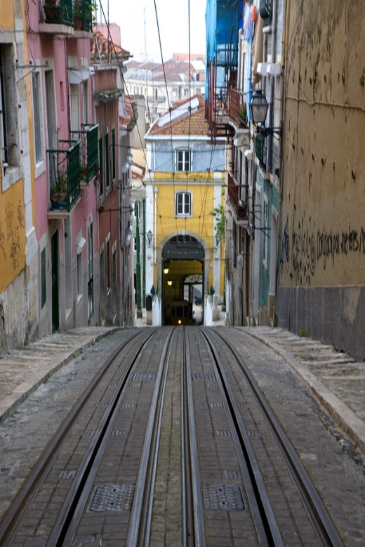 View down the improbably steep Elevador da Bica
