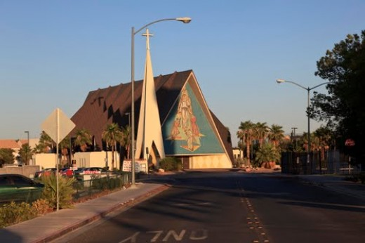 The Guardian Angel Cathedral in Las Vegas, home of the 'chip monk!""
